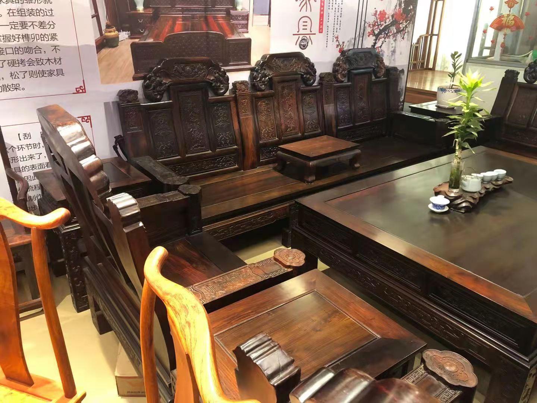 老挝大红酸枝交趾黄檀大如意沙发十一件套最新价格批发