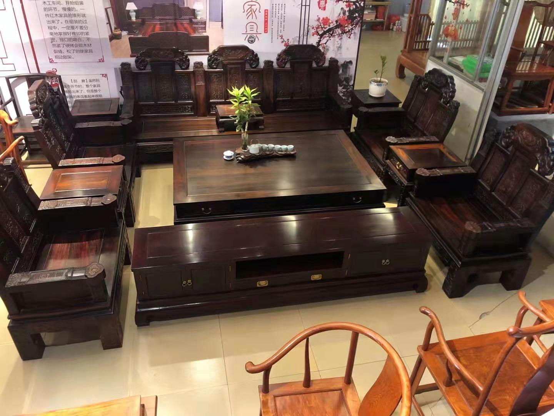 老挝大红酸枝交趾黄檀大如意沙发十一件套最新价格效果图