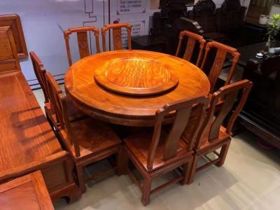 缅甸花梨木国色天香圆桌9件套价格