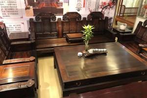 老挝大红酸枝交趾黄檀大如意沙发十一件套价格及图片