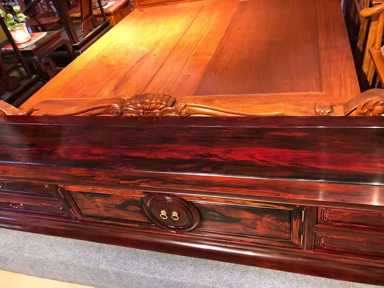 交趾黄檀(大红酸枝)两米四加长独板电视柜高清图片价格