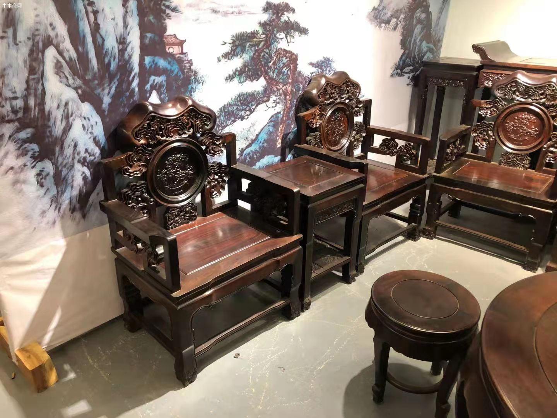 大气奢华顶级红木享受老挝大红酸枝灵芝中堂十二件套价格厂家