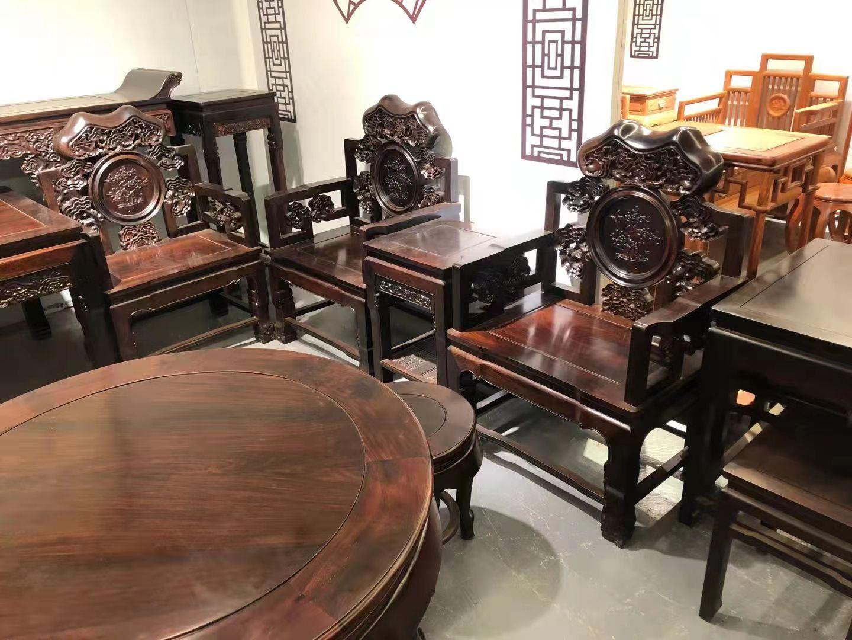 大气奢华顶级红木享受老挝大红酸枝灵芝中堂十二件套价格图片