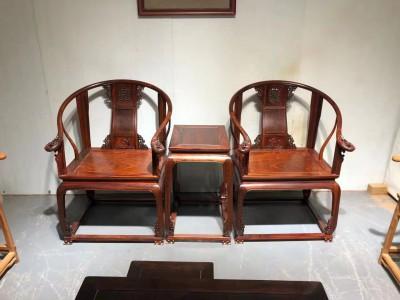 超级老料缅甸花梨四根通透皇宫椅三件套价格