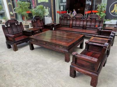 老挝大红酸枝象头如意沙发十件最新价格