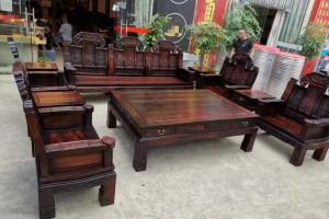 老挝大红酸枝象头如意沙发十件木纹图片