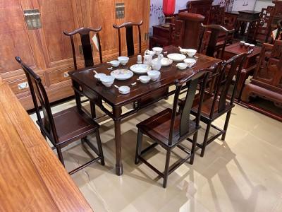 老挝大红酸枝经典明式灯挂椅餐桌七件套批发报价