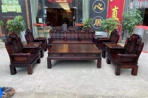 老挝大红酸枝如意象头沙发十一件套多少钱?