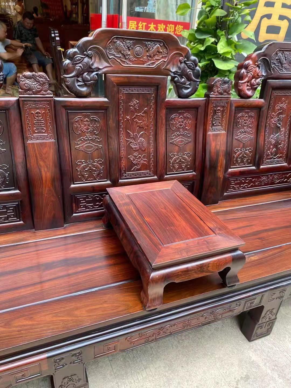 老挝大红酸枝如意象头沙发是什么木头图片