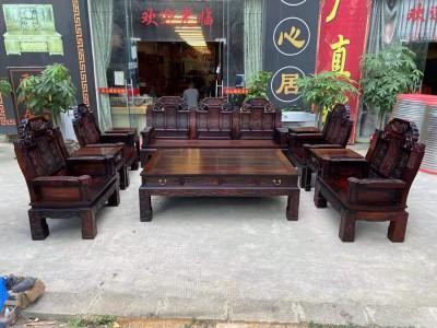 老挝大红酸枝如意象头沙发价格