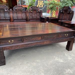 老挝大红酸枝如意象头红木沙发十大品牌