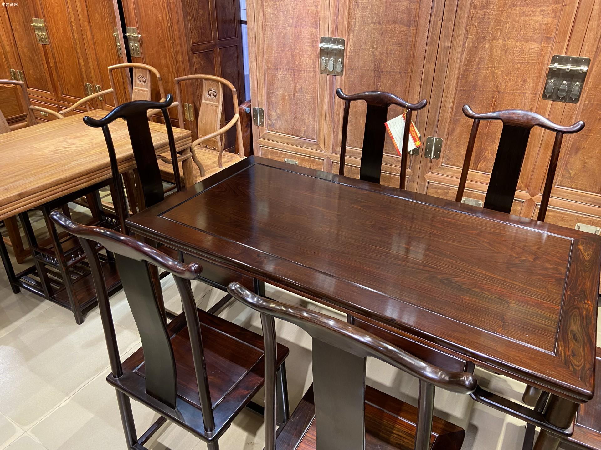 明式经典老挝大红酸枝灯挂椅餐桌七件套高清图片价格