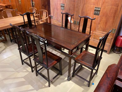 明式经典老挝大红酸枝灯挂椅餐桌七件套尺寸价格