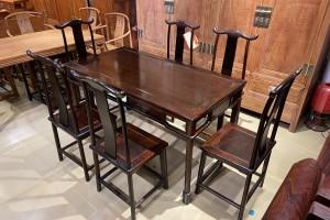 明式经典老挝大红酸枝灯挂椅餐桌七件套高清图片
