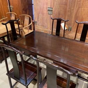 明式经典老挝大红酸枝灯挂椅餐桌七件套十大品牌