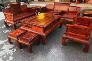 缅花黑红老料123六件套沙发价格
