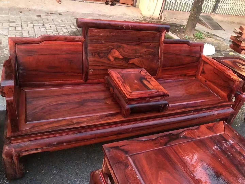 缅花黑红老料123六件套沙发价格图片